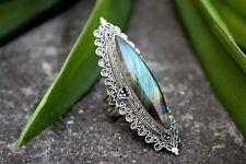 Antique Women Silver Turquoise Gemstone Wedding Engagement Ring Jewelry Size 7