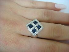 14K GOLD 1.50 CT SAPPHIRE & 0.35CT DIAMONDS LADIES RHOMBUS DESIGN RING,6.8 GRAMS
