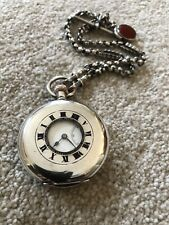 BEAUTIFUL SWISS MADE ANTIQUE SILVER HALF HUNTER POCKET WATCH