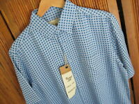 NWT Mens Silk Pocket Camp Shirt Vtg 60s 70s New Steel Blue Casual New Medium M