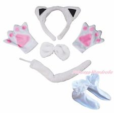 Halloween White Cat Headband Bow Tail Paw Shoes 5pc Child School Party Costume