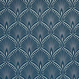 GranDeco Layla Art Deco Geometric Metallic Peacock Tail Wallpaper - Blue GV3103