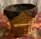 Longaberger 2002 Sage Autumn Pail Basket #12446, Liner,Protector, and COA