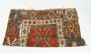 """An Attractive Hand Woven But Heavily Worn Vintage Turkish Kilim Rug 44"""" x 62"""""""