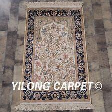 YILONG 2'x3' Persian Handmade Silk Rug Tree of Life Birds Mansion Carpet L123A