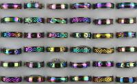 80Stk.Großhandel Modeschmuck gemischt bunt Edelstahl Ringe Rotieren Unisex Ring