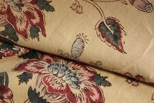 French fabric gently faded floral design butter yellow material aged lovely old