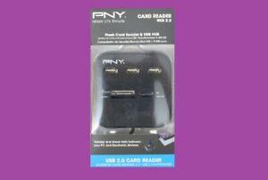 NEW PNY FLASH CARD READER & USB HUB, USB 2.0 CARD READER