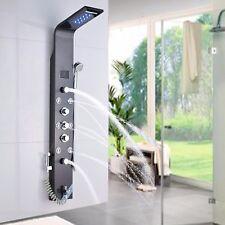 Brushed Black LED Shower Faucet Panel Shower Column Body Jet Shower Tower Steel