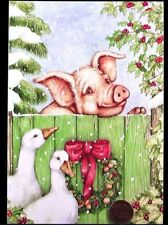 Adorable Pig Fence Wreath Trees Holly Ducks Geese - Christmas Greeting Card  NEW