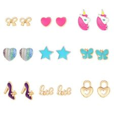 9 Pairs Kids Girls Cute Small Unicorn Butterfly Bowtie Stud Earrings Set