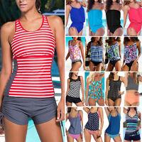 2018 Womens Tankini Bikini Set Push-up Swimsuit Bathing Suit Swimwear Top Bottom