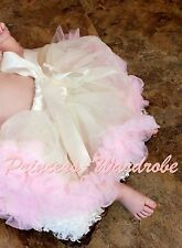 Newborn Baby Cream White Light Pink Full Pettiskirt Skirt Dance Tutu Girl 3-12M