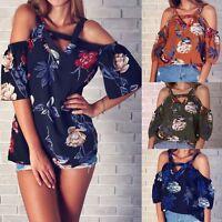 Fashion Women Off Shoulder Chiffon Floral Casual Tops T-shirt Loose Blouse Shirt