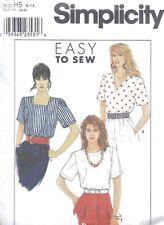 Vintage Women's Broad Shoulder Classic Blouse Top Sewing Pattern Uncut 6-14
