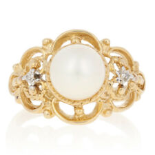 NEW 8mm Pearl Ring - 10k Yellow Gold w/ Diamond Accents