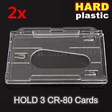 2x Hard Plastic Transparent Horizontal Clear Badge Cover 3-Multi ID Card Holder