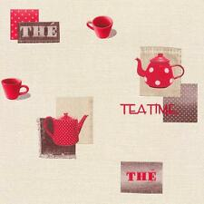 RASCH TEAPOT COFFEE CUP MOTIF POLKA EMBOSSED VINYL KITCHEN WALLPAPER RED WHITE