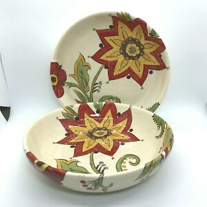 """Pier 1 Carynthum Set of 2 Soup Pasta Salad Bowls 8"""". Beautiful with Minor Chips"""