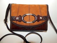 Brighton Brown Croc Leather Suede Large Organizer Clutch Crossbody Bag