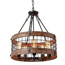 Farmhouse Wood Circular Chandelier Black Metal Cage 5-Light Ceiling Lamp Pendant