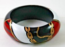 Vintage Wood Bangle Bracelet 1980s Nautical Painted Gold Roping Red White Blue