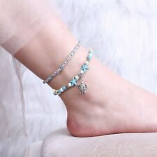Kallaite Tortoise Foot Ankle Beaded Bracelet Beach Sandal Chain Women Jewelry