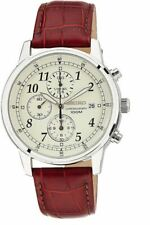 Seiko Chronograph Cream Dial Leather Band Men's Watch SNDC31
