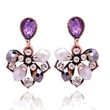 Betsey Johnson Lavender Pink AB White Crystal Moon Drops Dangle Stud Earrings
