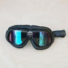Gafas/Googles/Brille Bandit simil cuero negro con cristales espejados multicolor