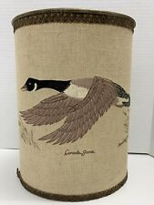 Canada Goose Wastebasket Embroidered Burlap Wrapped Metal Trash Basket Signed