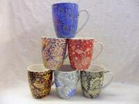 set of 6 china mugs in assorted William Morris SET A designs aspen shape.