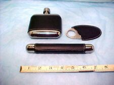 Cigar Holder - Cutter & Flask Leather and Stainless Steel 3 Piece Set never used