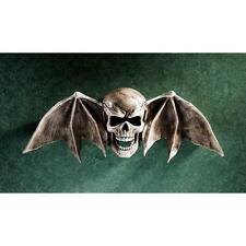 Macabre Tombstone Art Winged Skull Bat Halloween Decoration Wall Sculpture Prop