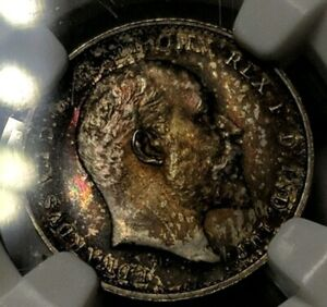 1907 G.Britian Maundy Money NGC MS65 PQ Toned Rainbow Gem