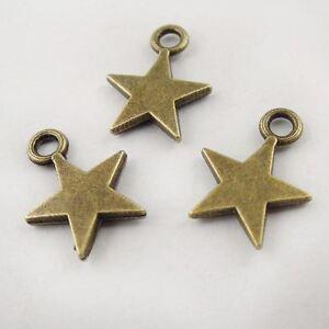 100 pcs Antiqued Bronze Tiny Star Alloy Charm For Bracelet Earring Pendant 9*1mm