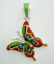 SLENDER HANDMADE .925  SILVER BUTTERFLY PENDANT IN TURQUOISE/MULTICOLOR INLAY