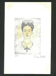 Frida Khalo Old etching- Hand signed in pencil