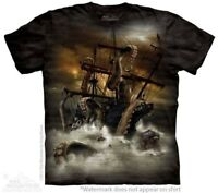 Kraken T-Shirt by The Mountain. Sea Monster Giant Squid Ship Storm Sizes S-5XL