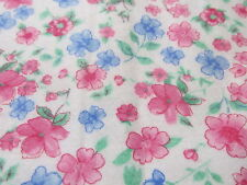Floral fabric flannel on white PINK BTHY half yard cut blue