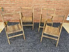 4x Antique Retro Folding Wooden Chairs ~ Camping/Chapel/Church Hall/scouts