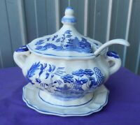 Blue Transfer Soup Tureen Bowl with Lid, Soup Ladle and Plate Vintage