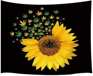 Viajar Sunflower Tapestry, Marijuana Leaf Weed with Sunflower on Black Tapestry