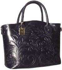 Damentasche Handtasche Echtes Leder Blau 1409 Shopper Tasche Schultertasche