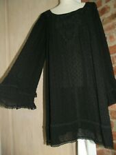 NEXT Size 12 Black Embroidered Long shirt Tunic Short Dress Lined New