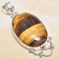 "Handmade Golden Tiger's Eye Gemstone 925 Sterling Silver Pendant 2"" #P02133"