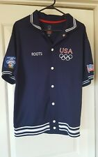 Roots 2004 Offcial USA Olympic Warm Up Jacket Navy Blue Size Large Athens NBC