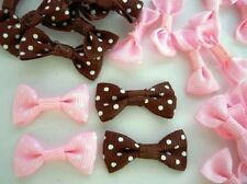 40 Pink & Brown Grosgrain Polka Dot Ribbon Bow Tie Applique/Craft/Trim/Sew F54
