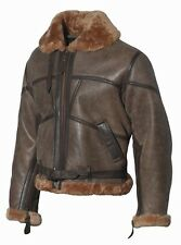 Lammfell Lederjacke RAF Bomberjacke Pilotenjacke Retro Real Leather Jacket Gr.S