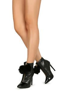 Women Pointy Toe Pom Pom Zip-Up Stiletto Boots 19501